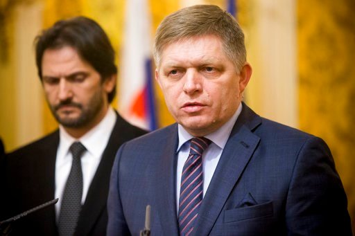 (AP Photo/Bundas Engler). Slovak Prime Minister Robert Fico, right,  gives a media statement, with Minister of Interior Robert Kalinak, left, after a silent protest march in memory of murdered journalist Jan Kuciak and his girlfriend Martina Kusnirova ...