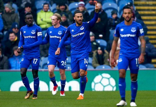 (Dave Thompson/PA via AP). Everton's Cenk Tosun, centre, celebrates scoring his side's first goal of the game during their English Premier League soccer match at Turf Moor, Burnley, England, Saturday March 3, 2018.