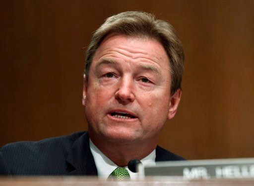 (AP Photo/Susan Walsh). FILE - In this Jan. 30, 2018 file photo, Sen. Dean Heller, R-Nev., asks a question of Treasury Secretary Steven Mnuchin during a Senate Banking Committee hearing on Capitol Hill in Washington. The silent majority may stop Congre...