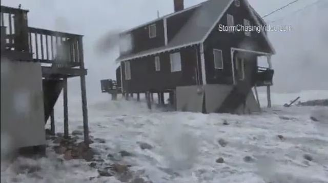A storm surge rushing in Scituate, MA, on Friday, March 2. (Source: StormchasingVideo.com/CNN)