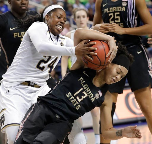 (AP Photo/Chuck Burton). Notre Dame's Arike Ogunbowale (24) and Florida State's Nausia Woolfolk (13) battle for a rebound during the second half of an NCAA college basketball game in the semifinals of the women's Atlantic Coast Conference tournament in...