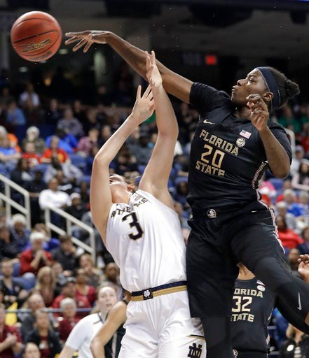 (AP Photo/Chuck Burton). Florida State's Shakayla Thomas (20) blocks a shot by Notre Dame's Marina Mabrey (3) during the first half of an NCAA college basketball game in the semifinals of the women's Atlantic Coast Conference tournament in Greensboro, ...