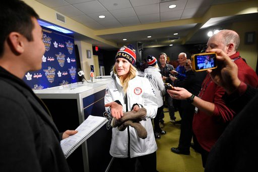 (AP Photo/Nick Wass). Jocelyn Lamoureux-Davidson, of the gold medal winning U.S. women's Olympic hockey team, talks to the media before an NHL hockey game between the Washington Capitals and the Toronto Maple Leafs, Saturday, March 3, 2018, in Annapoli...