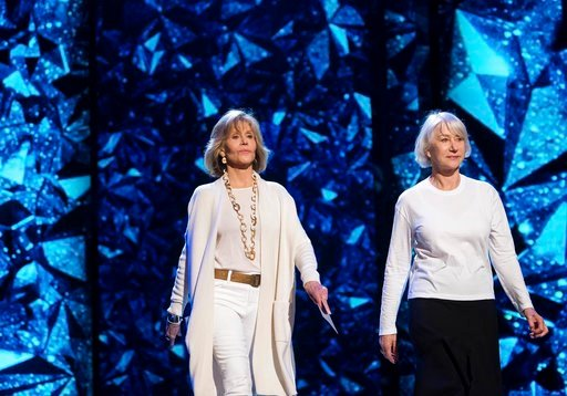 (Photo by Charles Sykes/Invision/AP). Jane Fonda, left, and Helen Mirren appear during rehearsals for the 90th Academy Awards in Los Angeles on Saturday, March 3, 2018. The Academy Awards will be held at the Dolby Theatre on Sunday, March 4.