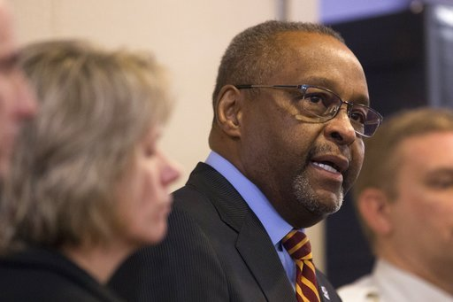 (Casey Sykes/The Grand Rapids Press via AP). Central Michigan University President George Ross speaks during a news conference at Central Michigan University in Mount Pleasant, Mich., on Saturday, March 3, 2018.