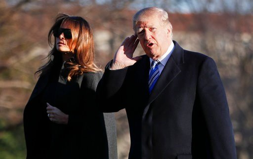 (AP Photo/Pablo Martinez Monsivais). President Donald Trump gestures as he walks across the South Lawn of the White House in Washington with first lady Melania Trump, Saturday, March 3, 2018, as they return from Trump's Mar-a-Lago estate.