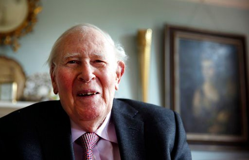 (AP Photo/Lefteris Pitarakis, FILE). FILE- In this photo taken Monday, April 28, 2014, Roger Bannister, who as a young man was the first person to break the 4-minute barrier for the mile run in 1954, poses during an interview with The Associated Press ...