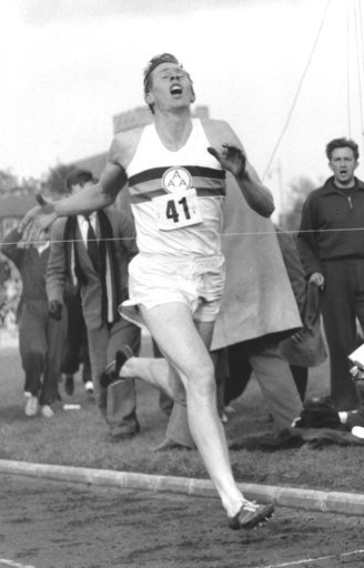 (AP Photo/File). FILE - In this May 6, 1954 file photo, Britain's Roger Bannister hits the tape to break the four-minute mile in Oxford, England. A statement released Sunday March 4, 2018, on behalf of Bannister's family said Sir Roger Bannister died p...