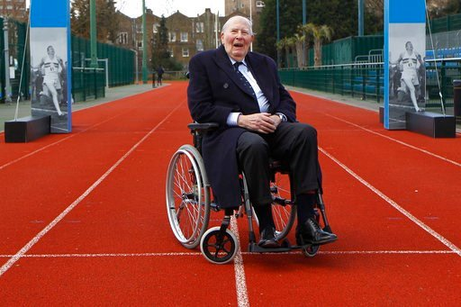 (AP Photo/Sang Tan). FILE - In tis file photo dated Wednesday, Feb. 26, 2014, former British athlete Roger Bannister poses for a picture during the launch of the Westminster Mile run, to celebrate the 60th anniversary of Bannister's record of being the...