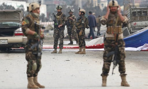 (AP Photo/Massoud Hossaini). Security forces inspect the site of a suicide attack in Kabul, Afghanistan, Friday, March 2, 2018. A large explosion in the eastern part of the Afghan capital on Friday morning killed at least one and wounding others offici...
