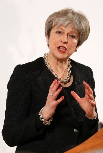 (Jonathan Brady/Pool Photo via AP). Britain's Prime Minister Theresa May delivers a speech at the Mansion House in London, Friday March 2, 2018. May promised to tell an impatient European Union on Friday what Britain is prepared to give and what it wan...