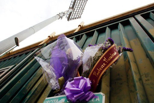 (Maurizio Degl'Innocenti/ANSA via AP). Flowers are laid outside the Artemio Franchi stadium to honor Fiorentina captain Davide Astori, in Florence, Italy, Sunday, March 4, 2018. Fiorentina captain Davide Astori has died, the club has announced Sunday. ...