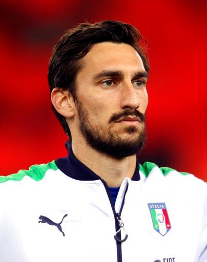 (AP Photo/Paolo Giovannini). In this photo taken on Thursday, March 24, 2016, Italy's Davide Astori poses during a friendly soccer match between Italy and Spain, at the Friuli Dacia Arena stadium in Udine, Italy. Fiorentina captain Davide Astori has di...