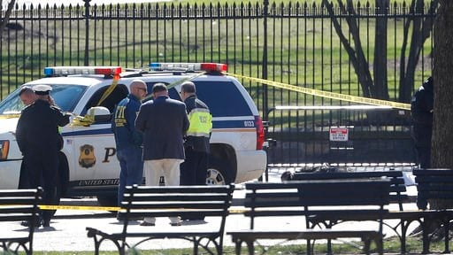 (AP Photo/Pablo Martinez Monsivais). Law enforcement officers gather in front of the White House in Washington, after the area was closed to pedestrian traffic, Saturday, March 3, 2018. Authorities said a man shot himself to death outside the White Hou...