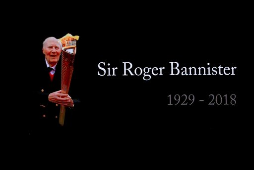 (AP Photo/Matt Dunham). A video screen shows a tribute to Roger Bannister at the World Athletics Indoor Championships in Birmingham, Britain, Sunday, March 4, 2018. Bannister, the first person to run a mile in under four minutes, died March 3.