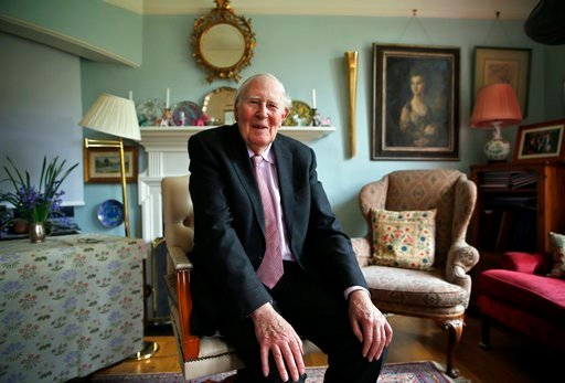 (AP Photo/Lefteris Pitarakis, File). FILE - In this Monday, April 28, 2014 file photo, Roger Bannister, 85, who as a young man was the first person to break the 4-minute barrier in the mile in 1954, poses during an interview with The Associated Press a...