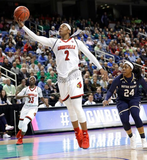 (AP Photo/Chuck Burton). Louisville's Myisha Hines-Allen (2) drives past Notre Dame's Arike Ogunbowale (24) during the first half of an NCAA college basketball game in the championship of the women's Atlantic Coast Conference tournament in Greensboro, ...