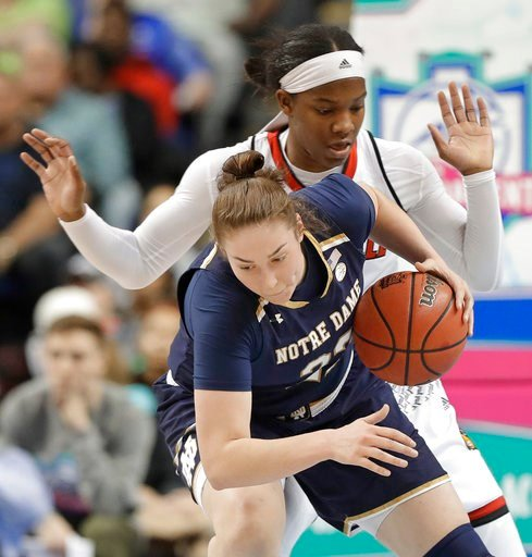 (AP Photo/Chuck Burton). Notre Dame's Jessica Shepard, front, is fouled by Louisville's Myisha Hines-Allen, back, during the first half of an NCAA college basketball game in the championship of the women's Atlantic Coast Conference tournament in Greens...