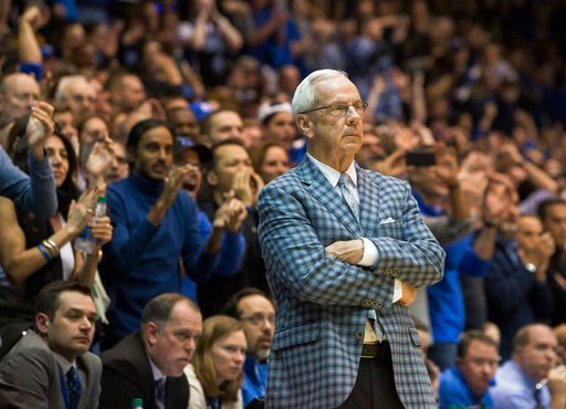 (AP Photo/Ben McKeown). North Carolina head coach Roy Williams looks towards the court during the second half of an NCAA college basketball game against Duke in Durham, N.C., Saturday, March 3, 2018. Duke defeated North Carolina 74-64.