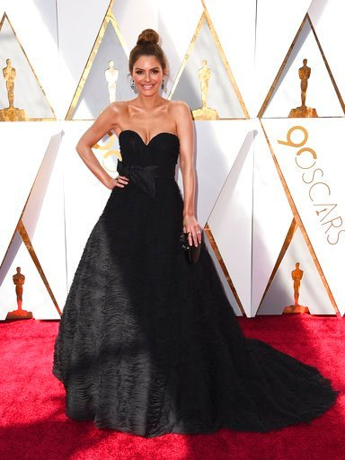 (Photo by Jordan Strauss/Invision/AP). Maria Menounos arrives at the Oscars on Sunday, March 4, 2018, at the Dolby Theatre in Los Angeles.