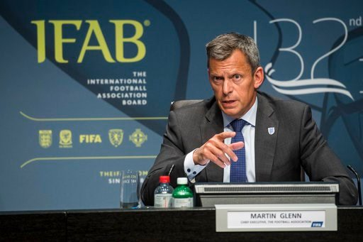 (Ennio Leanza/Keystone via AP). Martin Glenn, Chief Executive Football Association, speaks during the press conference of the 132nd IFAB Annual General Meeting at the Home of FIFA in Zurich, Switzerland, Saturday, March 3, 2018.