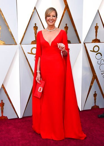 (Photo by Jordan Strauss/Invision/AP). Allison Janney arrives at the Oscars on Sunday, March 4, 2018, at the Dolby Theatre in Los Angeles.