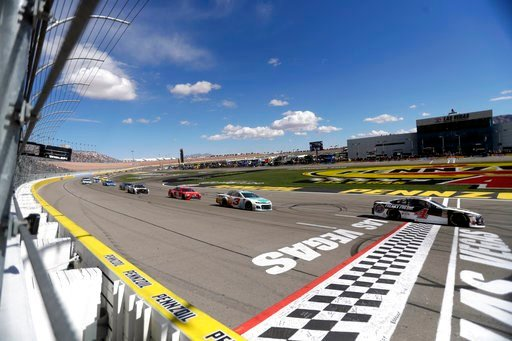 (AP Photo/Isaac Brekken). Kevin Harvick leads after the first section of a NASCAR Cup series auto race Sunday, March 4, 2018, in Las Vegas.