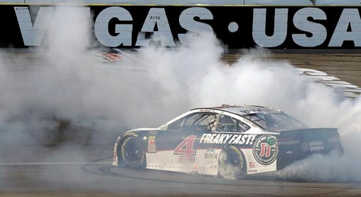 (AP Photo/Isaac Brekken). Kevin Harvick performs a burnout after winning a NASCAR Cup series auto race Sunday, March 4, 2018, in Las Vegas.