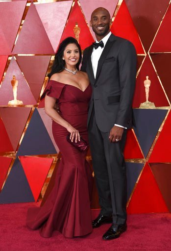 (Photo by Richard Shotwell/Invision/AP). Vanessa Laine Bryant, left, and Kobe Bryant arrive at the Oscars on Sunday, March 4, 2018, at the Dolby Theatre in Los Angeles.