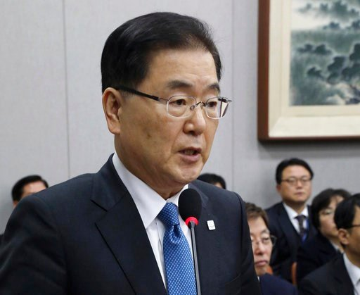(Hong Hyo-shick/Newsis via AP). In this Feb. 21, 2018, photo, South Korea's national security director Chung Eui-yong speaks at the National Assembly in Seoul, South Korea.
