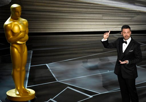 (Photo by Chris Pizzello/Invision/AP). Host Jimmy Kimmel speaks at the Oscars on Sunday, March 4, 2018, at the Dolby Theatre in Los Angeles.