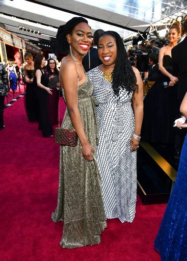 (Photo by Charles Sykes/Invision/AP). Kaia Burke, left, and Tarana Burke arrive at the Oscars on Sunday, March 4, 2018, at the Dolby Theatre in Los Angeles.