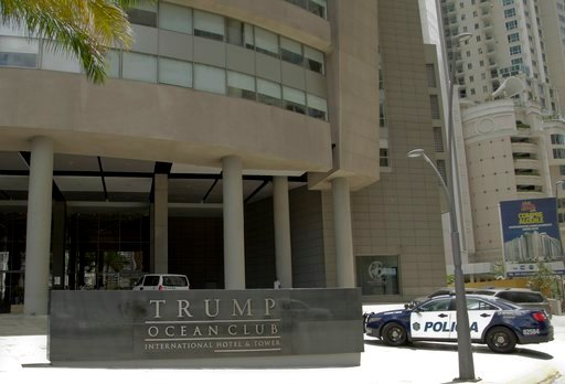 (AP Photo/Arnulfo Franco, File). FILE - In this Feb. 27, 2018 file photo, a police car arrives at the Trump Ocean Club International Hotel and Tower in Panama City.  The hotel remains open for business against a backdrop of service interruptions, bad p...