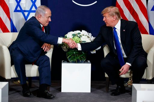 (AP Photo/Evan Vucci). This Jan. 25, 2018. file photo shows President Donald Trump meeting with Israeli Prime Minister Benjamin Netanyahu at the World Economic Forum in Davos.