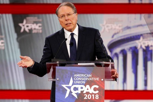(AP Photo/Jacquelyn Martin, File). FILE- In this Thursday, Feb. 22, 2018, file photo, National Rifle Association Executive Vice President and CEO Wayne LaPierre, speaks at the Conservative Political Action Conference (CPAC), at National Harbor, Md.  Th...
