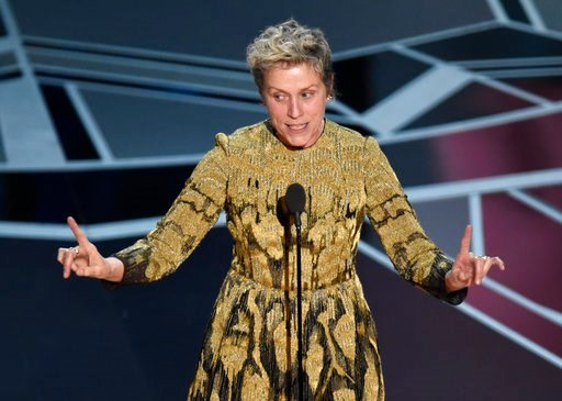 "(Photo by Chris Pizzello/Invision/AP). Frances McDormand accepts the award for best performance by an actress in a leading role for ""Three Billboards Outside Ebbing, Missouri"" at the Oscars on Sunday, March 4, 2018, at the Dolby Theatre in Los Angeles."