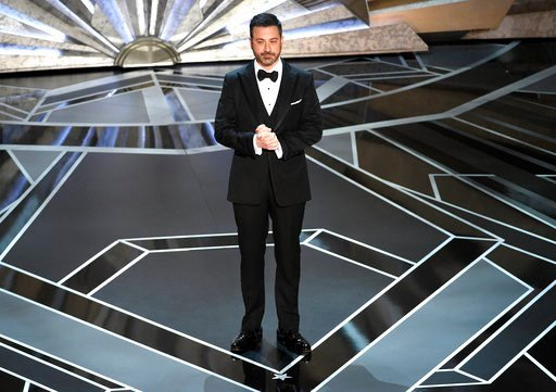 (Photo by Chris Pizzello/Invision/AP). Jimmy Kimmel speaks at the Oscars on Sunday, March 4, 2018, at the Dolby Theatre in Los Angeles.