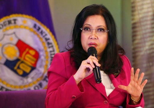 (AP Photo/Aaron Favila, File). FILE - In this Aug. 28, 2014 file photo, Philippine Supreme Court Chief Justice Maria Lourdes Sereno gestures while speaking to reporters in Manila, Philippines. The Philippine government's legal counsel has asked Supreme...