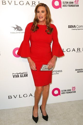(Photo by Willy Sanjuan/Invision/AP). Caitlyn Jenner arrives at the 2018 Elton John AIDS Foundation Oscar Viewing Party on Sunday, March 4, 2018, in West Hollywood, Calif.