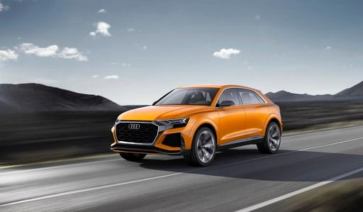 (Audi via AP). The undated image provided via the Audi MediaCenter shows Audi Q8 sport concept. Global automakers are rolling out more production-ready electric vehicles at the Geneva International Motor Show as they try to challenge Tesla and get ahea...