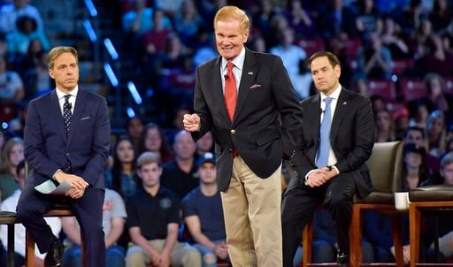 (Michael Laughlin/South Florida Sun-Sentinel via AP, Pool). FILE- In this Feb. 21, 2018 file photo, Sen. Bill Nelson speaks during a CNN town hall meeting in Sunrise, Fla. The mass shooting at Marjory Stoneman Douglas High School has put guns at the fo...