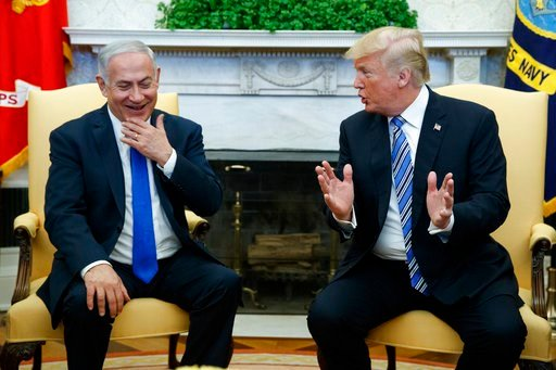 (AP Photo/Evan Vucci). President Donald Trump meets with Israeli Prime Minister Benjamin Netanyahu in the Oval Office of the White House, Monday, March 5, 2018, in Washington.