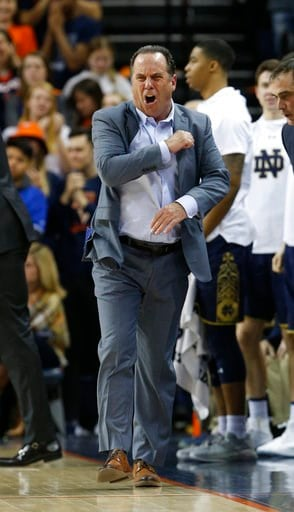 (AP Photo/Steve Helber). Notre Dame head coach Mike Brey reacts to a call during the second half of an NCAA college basketball game against Virginia in Charlottesville, Va., Saturday, March 3, 2018. Virginia won the game 62-57.