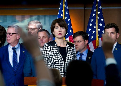 (AP Photo/Jose Luis Magana, File). FILE - In this Jan. 20, 2018, file photo, Rep. Cathy McMorris Rodgers, R-Wash., accompanied by other members of the congress, speaks during a news conference at Capitol Hill in Washington. McMorris Rodgers has steadil...