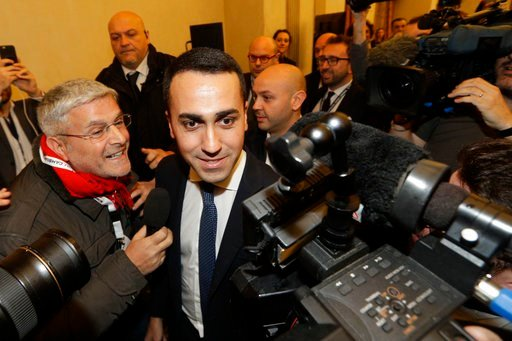 (AP Photo/Andrew Medichini). 5-Stars Movement's leader Luigi Di Maio arrives for a press conference on the preliminary election results, in Rome, Monday, March 5, 2018. With the anti-establishment 5-Stars the highest vote-getter of any single party, th...