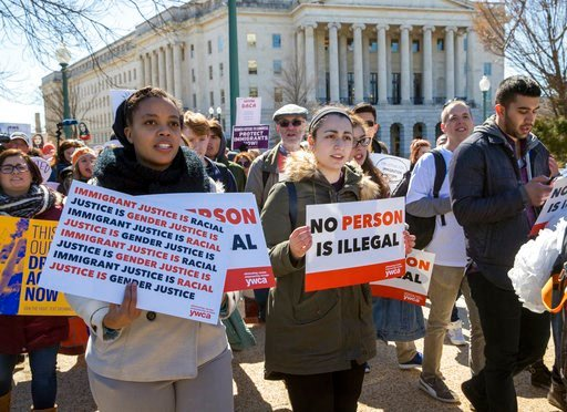 (AP Photo/J. Scott Applewhite). Deferred Action for Childhood Arrivals (DACA) recipients and other young immigrants march with supporters as they arrive at the Capitol in Washington, Monday, March 5, 2018. The program that temporarily shields hundreds ...