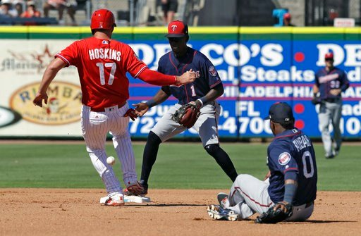 (AP Photo/Chris O'Meara). Philadelphia Phillies' Rhys Hoskins (17) is safe at second base as Minnesota Twins second baseman Erick Aybar (0) makes an error on a relay throw to shortstop Nick Gordon (1) during the fourth inning of a spring training baseb...