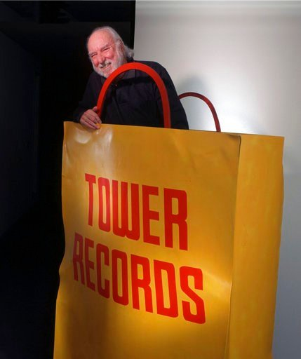 (Michael A. Jones/The Sacramento Bee via AP, File). FILE - In this 1997 file photo, Russell Solomon, founder of Tower Records, is photographed inside a sculpture at the Tower Records headquarters in Sacramento, Calif. Solomon, who founded the Tower Rec...