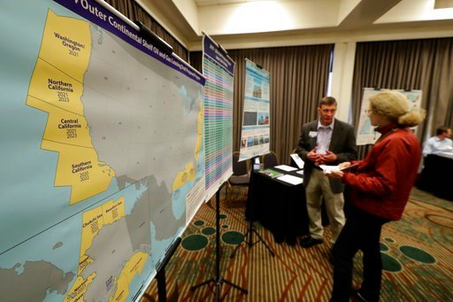(AP Photo/Ted S. Warren). Areas that could potentially be leased for offshore oil and gas drilling are shown in yellow on a map displayed Monday, March 5, 2018, at an open house hosted by the federal Bureau of Ocean Energy Management to provide informa...