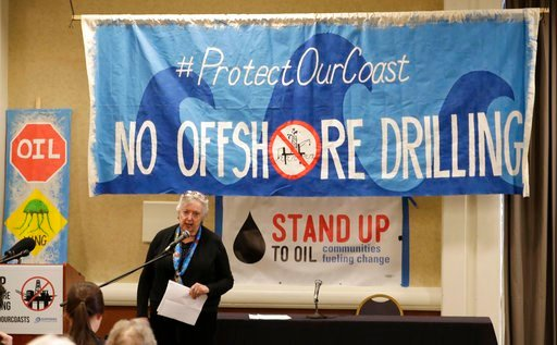 (AP Photo/Ted S. Warren). Crystal Dingler, the mayor of Ocean Shores, Wash., speaks Monday, March 5, 2018, at a hearing in Olympia, Wash., organized by a coalition of environmental groups opposed to the Trump administration's proposal to expand offshor...